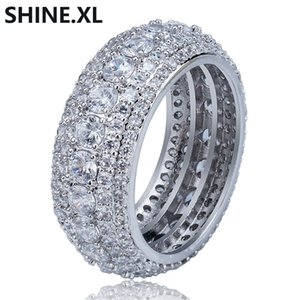 Hip Hop CZ Ring Full Bling Iced Out Wedding Zircon Hollow Luxury Engagement Fashion Jewelry Gift