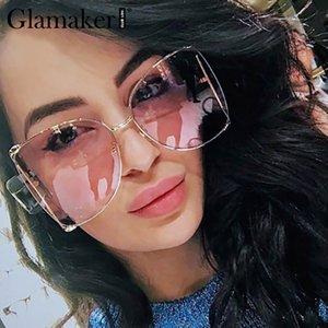 Glamaker gran tamaño manera de señora elegante de las mujeres de Sunglass de la vendimia Streetwear gafas de sol retro del partido atractivos de verano de mujeres