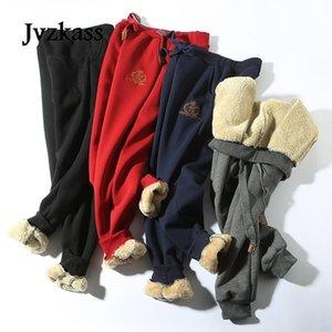 JVZKASS Kış Pamuk Kuzu Derisi Sweatpants Yün Rahat Artı Kadife Kalınlaşma Büyük Boy Pantolon Kadın Z211 201109