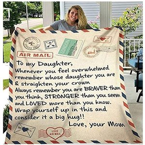 Flannel Throw Blanket to My Daughter or Son Letter Printed Quilts Dad Mom for Daughter's Air Mail Blanket Encourage and Love