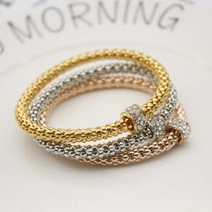 Três pcs liga pulseira moda força elástica pipoca cristal ouro banhado a ouro jóias mulheres homens braceletes casamento 4 3zl k2b