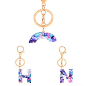 3j5 Chakra Prism Hexagon car Drop Resin Style Keychain Key Ring Handbag 26 English Letter Keychain Natural logo keychain Hangs Fashion