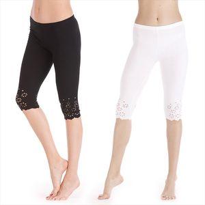 Summer Leggings Women Skinny Pants Short Leggings Knitted Jegging Hollow Out Push Up Safe Pants Female Short Mid Calf Capris
