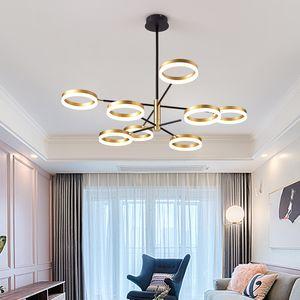 Modern LED Chandelier Minimalist Bedroom Circle Chandelier Light Personalized Living Room Lights Fixture Golden Pendant Lamp