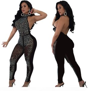Sexy Mesh Jumpsuits for Women Black See Through Lace Bodysuit Bodycon Jumpsuit Party Night Club F0017 Bodysuit Backless Shinning Rhinestones