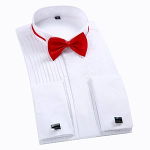 Men Tuxedo Dress Shirt White Regualr Fit Plus Size French Cufflinks Long Sleeve Luxury Wedding Party Male Blouse 6xl 201020