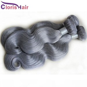 Cuticle allineata Grigio Body Wave Bundles Raw Virgin Virgin Indian Capelli Tessuti economici Wavy Silver Grey Human Hair Extensions De Cabello 3PCS Offerte