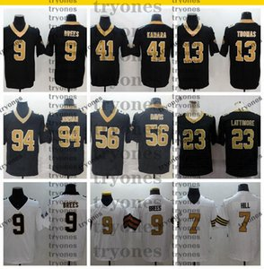 2020 Mens Drew Brees Alvin Kamara Michael Thomas Marshon Lattimore Taysom Hill Cameron Jodan Demario Davis Black Football Jerseys Rush