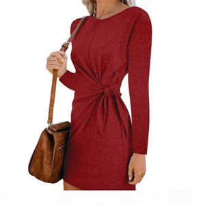 Round Neck Long Sleeve Lace Waist Tie Knot Dress Slim Mini Dress Skirts Fashion Women Clothes Black Red drop ship 220243
