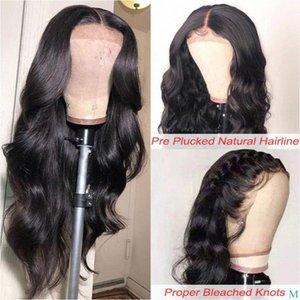 13x6 parte dianteira do laço do cabelo humano Perucas Pré arrancada onda do corpo Lace Wig frontal com bebê Remy cabelo 150 Densidade 360 Perucas Perucas online Natural Ha DkDP #