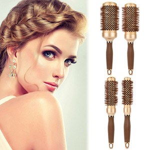 Hair Salon Aluminum Round Comb Hairdressing Brushes Curler Brush Salon Styling Tools Massage Comb 4styles
