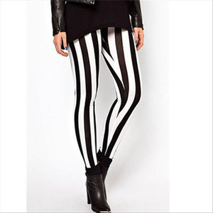 Womens Black and White Zebra Print Fashion Sexy Fitness Leggings Vertical Stripe Pants For Women Trousers Long Hot new