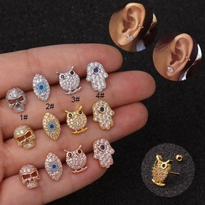 1pc CZ Evil Eye Hand Hamsa Ear Body Piercing Cartilage Helix Tragus Stud Earrings For Women Girl Punk Rock Gold Color Jewelry