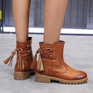 Taglie 35-53 Nizza caviglia stivali da pioggia di autunno delle donne Retro Scarpe Torna nappa talloni piani Mature Nero Stivali marroni