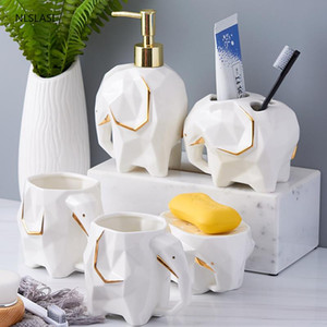 Nordic Phnom Penh Elephant Shape Ceramic Bathroom Accessories Set Mouth Cup Soap Dispenser Toothbrush Holder Soap Dish Decor