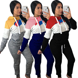 Champions Women Brand Designer Outfits Embroidery Letter Jogger Suit Patchwork Hoodie Tracksuit Long Sleeve 2 Piece Set Sweatsuit 1539