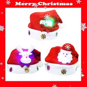 Fancy Shinning Purple Green White LED Xmas Hat Christmas Party Night Santa Hat with Inlaid Santa Claus Reindeer Snowman