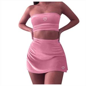 2 шт Набор женщины Летняя одежды для женщин без рукавов Повседневного Crop Top Рубашки юбки Двухкусочного Outfit вскользь женских наборы