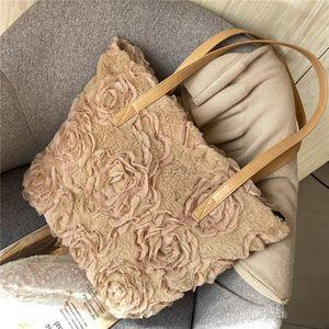 Fashion Lady Faux Fur 3D Flower Shoulder Bags Hot Sale Evening Party Handbag New Cosmetic Bag 2020
