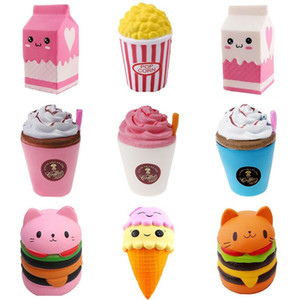 Jumbo Cute Popcorn Cake Hamburger Squishy Unicorn Milk Slow Rising Squeeze Toy Scented Stress Relief for Kid Fun Gift Toy