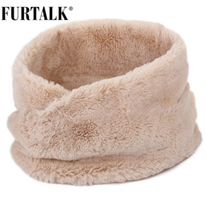 FURTALK Winter Scarf Women Faux Fur Scarf Winter Warm Neck Scarf for Female Black Pink White Color Fur Scarves