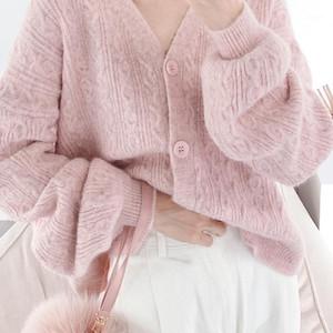 Invierno Mujeres Suéter Jacket Chaqueta Chicas Coreanas Chic Tops Suéteres de mujer Jersey Knit Alpaca Lana Twist Sweater Coats1