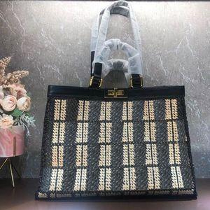 Große beiläufige Einkaufstasche aus schwarzem Leder-Handtaschen-Dame-Schulter-Back Bag Knitting Tasche Klassische Twist Lock