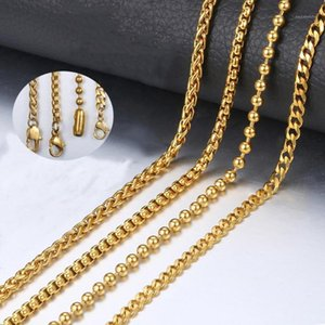 Womens Mens Stainless Steel Necklace Gold Color 3MM Bead Ball Box Braided Wheat Curb Cuban Link Chain Wholesale Jewelry LKN4631