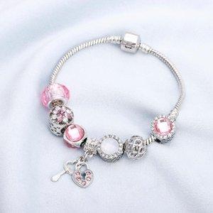 New Belas-de-rosa de cristal bracelete frisado com chave de fechamento Pendant cobra corrente da Fit BraceletsBangles Mulheres de jóias charme presente Pulseras