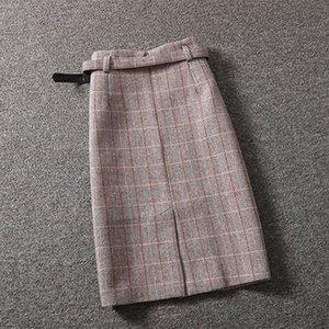 Frauen Winter One-Step Bag Hüftrock Weibliche Koreanische Version Woller Plaid Rock Dame Mittellange High-Taille Schlitz