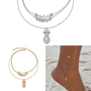 Multistrato gioielli donne degli uomini della caviglia di ananas in rilievo Star Caviglie Ciondolo braccialetti della lega cavigliere catena di 2020 della moda di New 2YM arrivo J2B