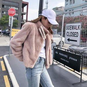 female quality mink coat Superior short section 2021 mink mon muffle fashion casual jacket collar collar fur coat C 512