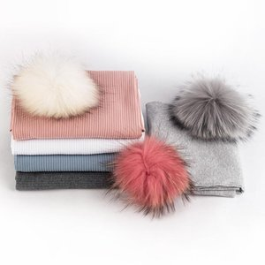 Fashion Newborn Baby girls boy Ribbed Double layer blankets with 5 Real Raccoon Fur Pompom Soft Travel Sleeping swaddle blanket