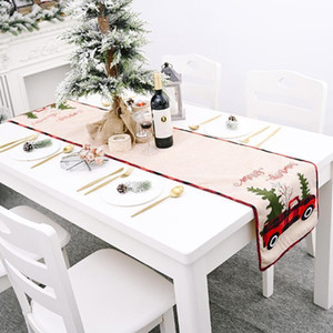 Christmas Table Runner Tablecloth Cotton Linen Table Cover Xmas Tree Flag Table Dress Tablecloth Eating Mat Christmas Decorations GWC3559