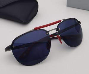 Occhiali da sole senza montatura che guidano gli occhiali da sole in stile corse in metallo e fibra di nylon in fibra di fibra di fibra logo rosso e giallo Gomma Temple Hole Detail Design