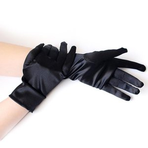 1 Pairs Lady Solid Black White Red Short Stain Glove Women Etiquette Gloves For Evening Dress Dance Performance Prom Mittens