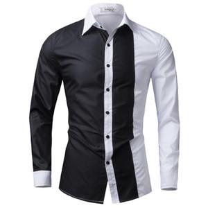 Men Shirt Long Sleeve 2020 Brand Shirts Men Casual Male Slim Fit Fashion Spell Color Chemise Mens Camisas Dress Shirts 4XL FGURT