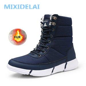 MIXIDELAI Yeni Kış Su Geçirmez Kar Erkekler Çizmeler Ayakkabı Kürk Peluş Ile Sıcak Erkek Casual Kadın Orta Buzağı Boot Sneakers Unisex 201209