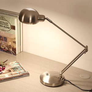 Black Silver Modern Led Table Lamp with Adjustable Arm Eye protection Desk lamp E27 Edion Bulb for Reading Night light lamp 220V C0930