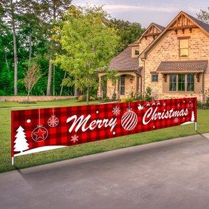 Feliz Navidad Banner Happy Halloween Navidad Globos de la bandera grande signo de Navidad de la casa del partido de la decoración de 3M * 50cm AHE1084