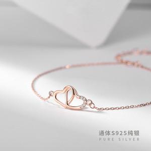 الكورية ارتفع مشبك من الذهب والماس قفل جنية القلب، والحب سلسلة فتاة 925 الفضة النقية 18K مطلية بالذهب القدم زخرفة