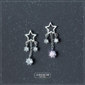 YLVhG s925 silver and women's fashion star tassel short earrings women's Korean style five-pointed star earrings E0138-1