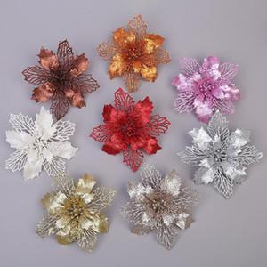 16CM عيد الميلاد شجرة عيد الميلاد الزهور زينة الزهور زينة الزفاف زهرة قلادة زينة عيد الميلاد 15 اللون XD24070