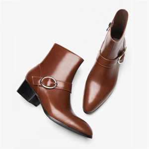 Winter Boots Men Pointed Toe Zipper Genuine Leather Ankle Shoes Male Brand Fashion Black Brown Business High Heel Dress Boots