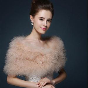 Wedding fur cape Luxurious ostrich feathers camel Fur Boleros wedding bride White ivory shrug bridal party shawls bolero Y201024