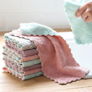 Nettoyage Cuisine Essuyage Rags vaisselle Chiffons Absorption d'eau anti-graisse vaisselle Tissu microfibre Couleur laver Serviette magique AHB2078