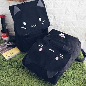 2019 Cute Cat Canvas Backpack Cartoon Embroidery Backpacks For Teenage Girls School Bag Casual Black Printing Rucksack mochilas
