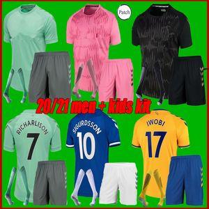 Toffees # 19 James Soccer Jerseys Home Away 2021 Hommes Kit Kit Kit Chemise de football # 7 Richarlison # 26 Davies Uniformes de football personnalisés