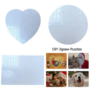 Sublimation Blank Puzzle Heart Round A4 Blank Jigsaw DIY Craft Heat Transfer Printing Puzzles Valentine Day Birthday Day Gifts