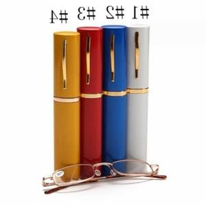 Unisex Reading Presbyopic Glasses With Random Color Metal Tube Case Glass Men Women Eyewear Portable Comfortable